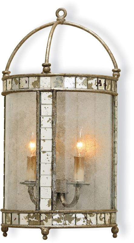 Currey and Company 5032 Corsica Wall Sconce Harlow Silver Leaf Indoor