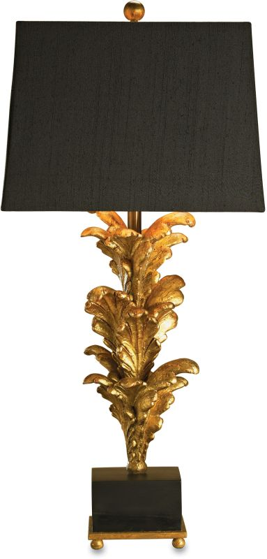 Currey and Company 6121 Table Lamp with Black Linen with Gold Liner