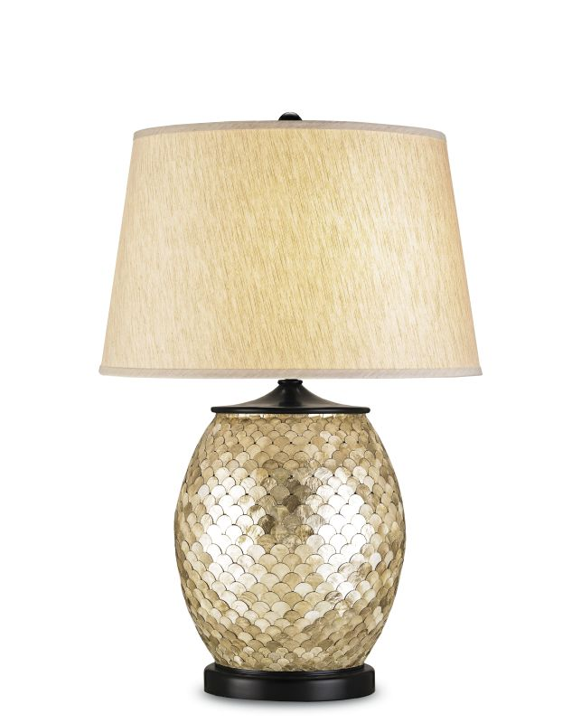 Currey and Company 6380 Alfresco Table Lamp with Oatmeal Linen Shade