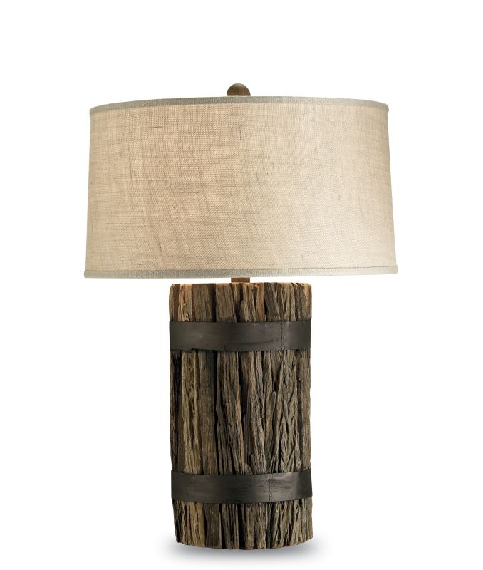 Currey and Company 6521 Wharf Table Lamp with Putty Burlap Shade and