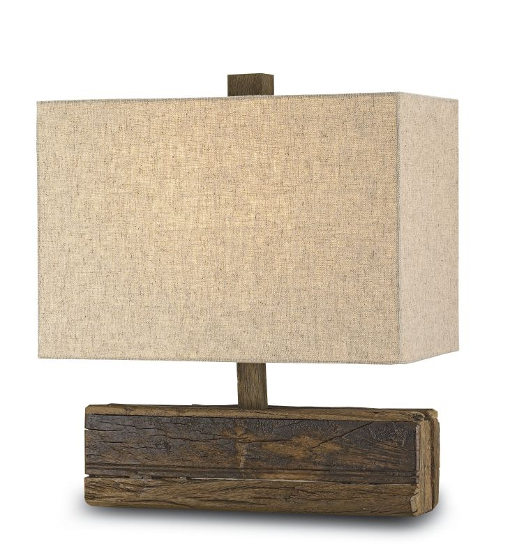 Currey and Company 6774 Structure 1 Light Wood Table Lamp with Black
