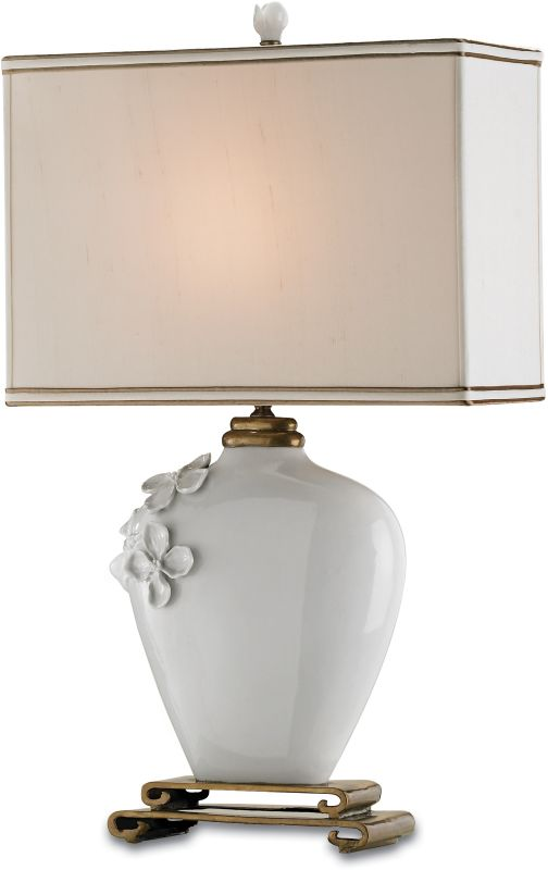 Currey and Company 6995 Minuet Table Lamp with Cream Silk Shades White