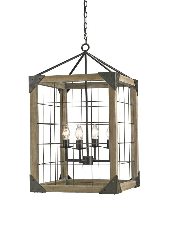 Currey and Company 9083 Eufaula 4 Light Lantern in Old Iron / Natural