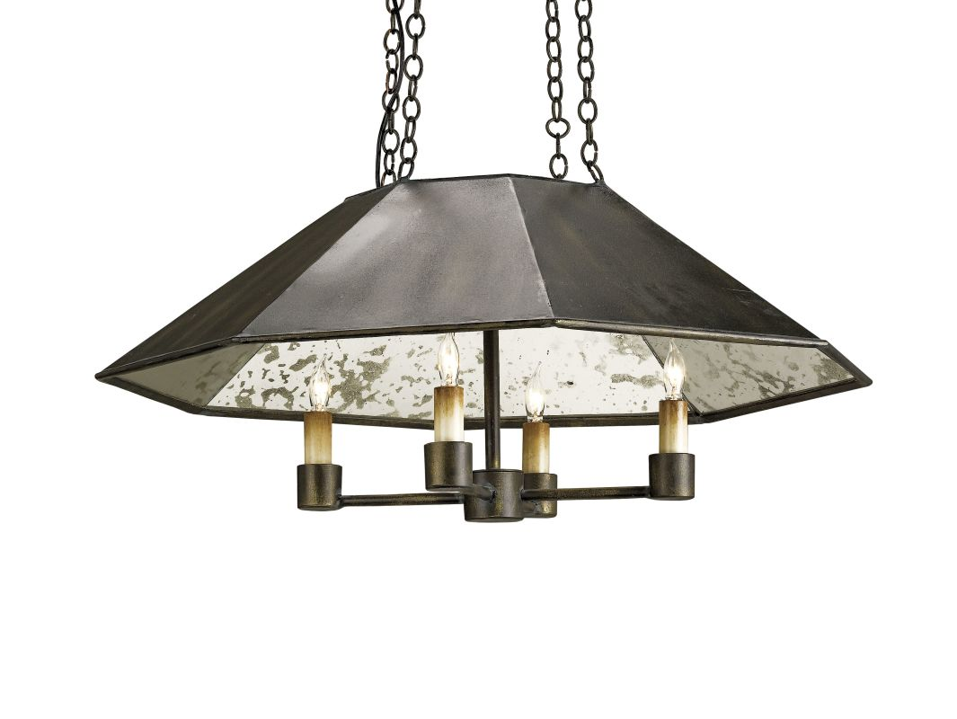 Currey and Company 9087 Annandale 4 Light Wrought Iron Pendant Bronze