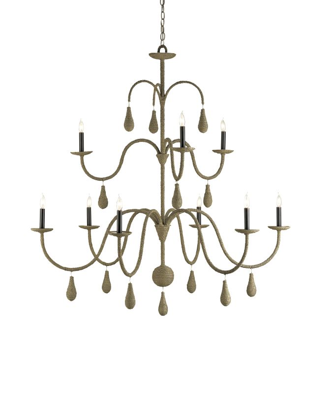 Currey and Company 9111 Bayside 9 Light Chandelier in Old Iron / Putty
