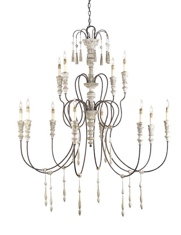 Currey and Company 9117 12 Light Wrought Iron Large Hannah Chandelier