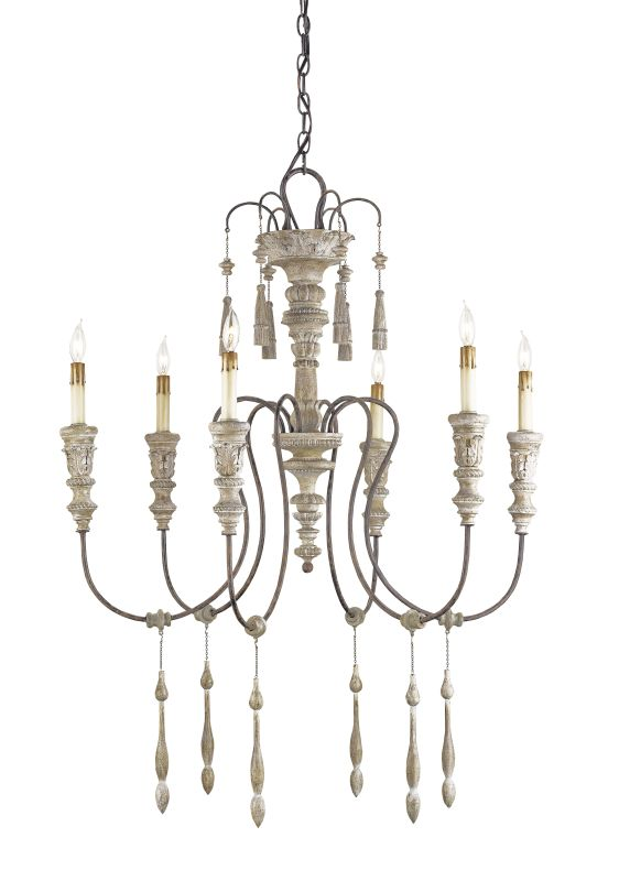 Currey and Company 9119 6 Light Wrought Iron Small Hannah Chandelier