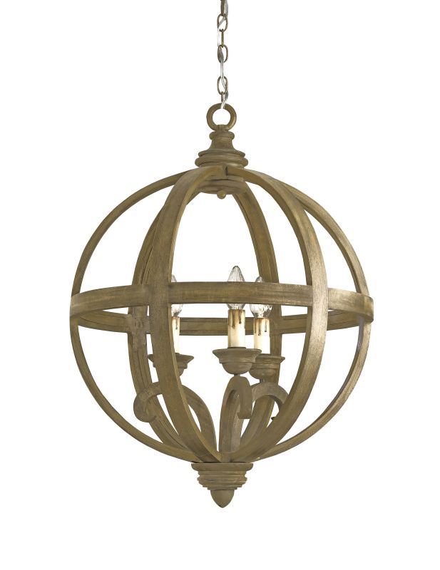 Currey and Company 9133 3 Light Wrought Iron Small Axel Orb Chandelier