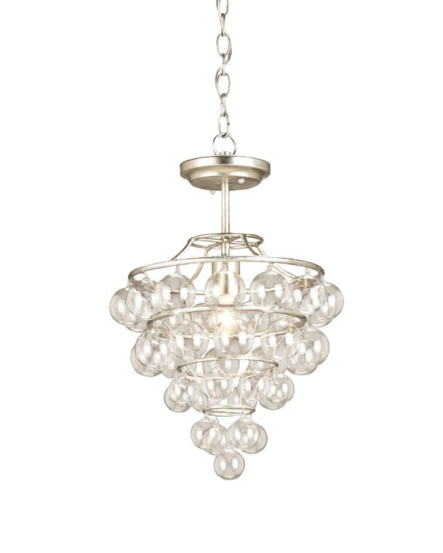 Currey and Company 9205 Astral 1 Light Pendant in Contemporary Silver