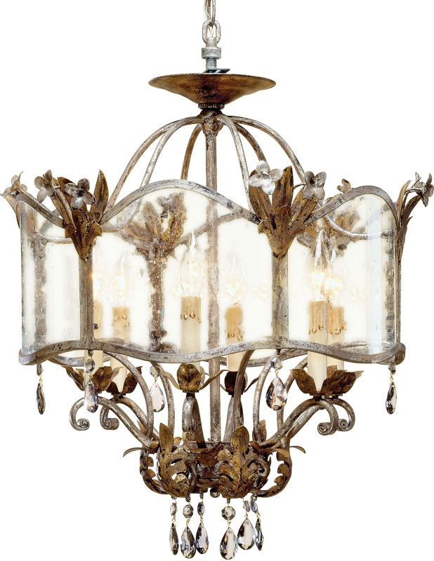 Currey and Company 9387 Zara Large Foyer Pendant Viejo Gold/Silver