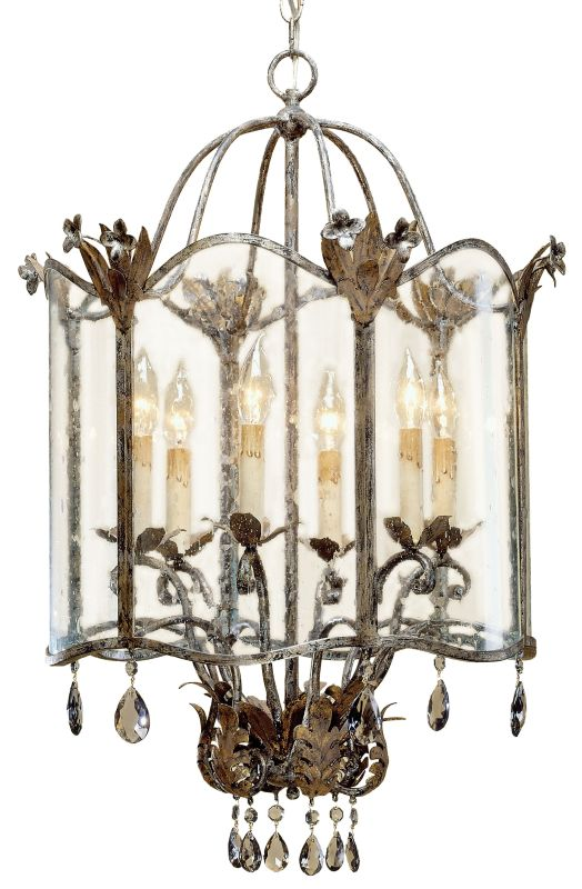Currey and Company 9388 Zara Large Foyer Pendant Viejo Gold/Silver
