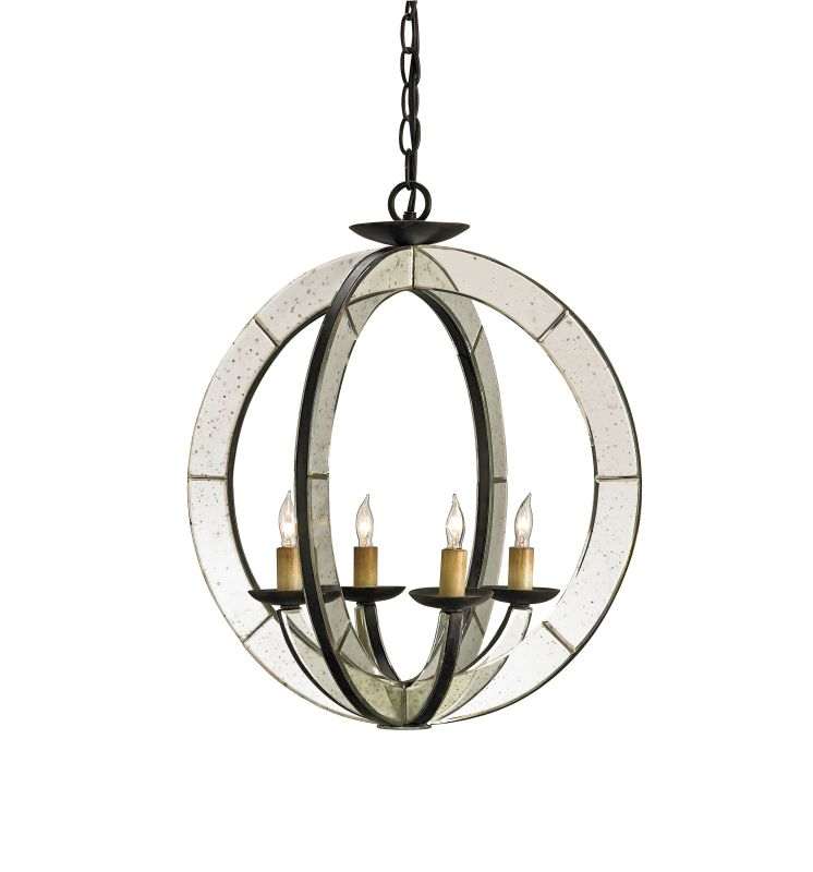 Currey and Company 9400 Meridian 4 Light Chandelier in Old Iron /