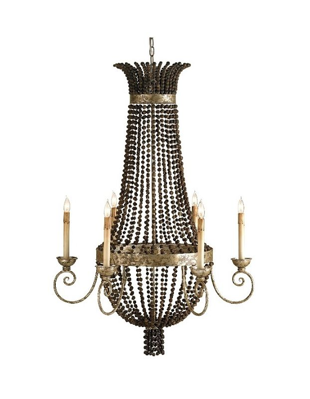 Currey and Company 9686 6 Lights Chandelier Distressed Silver Leaf