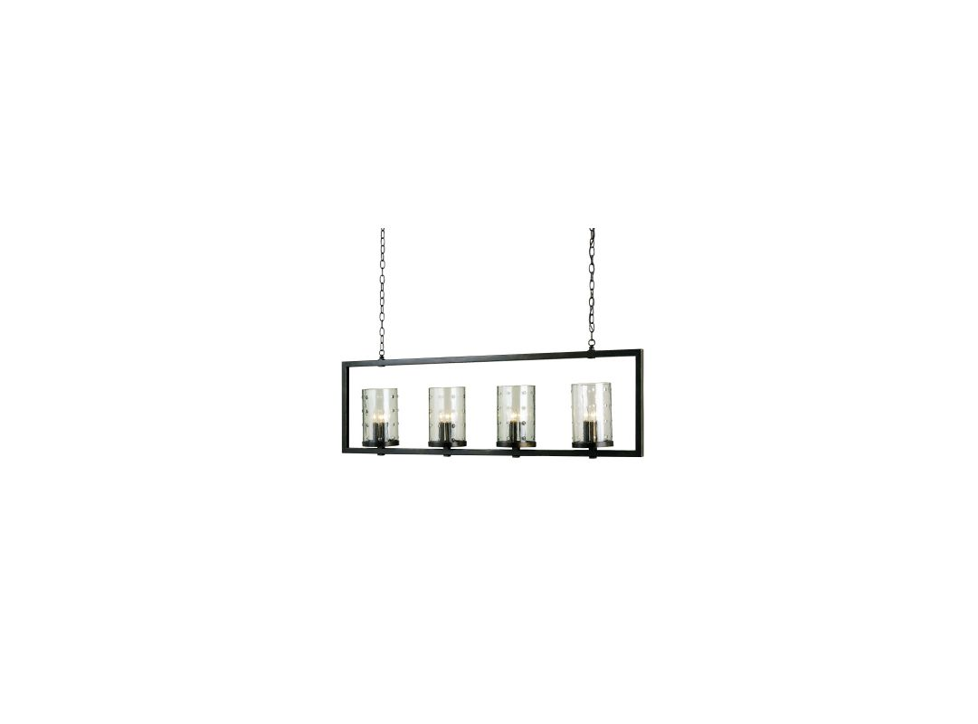 Currey and Company 9742 12 Light Rectangular Chandelier Bronze Gold