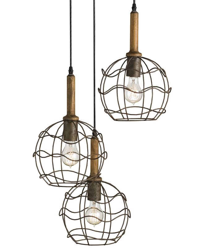 Currey and Company 9968 Sibley Trio Pendant Emery Rust / Chestnut