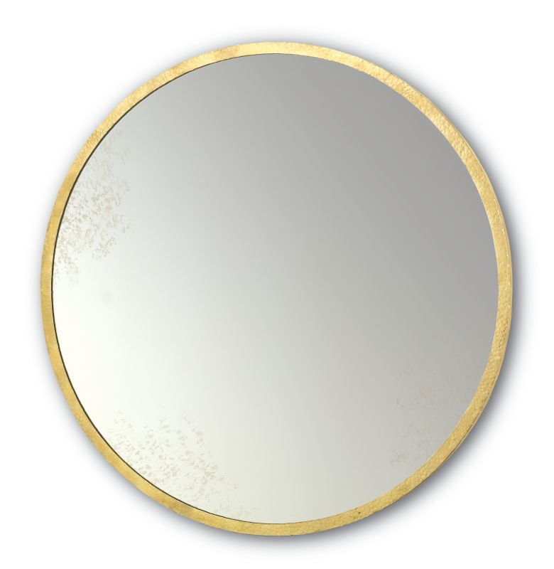 """Currey and Company 1088 Aline 42"""" High Wall Hung Antique Round Mirror"""
