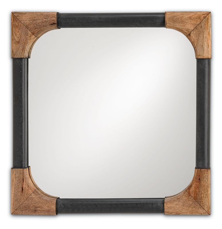 Currey and Company 1105 Nash Square Mirror with Wood Accents Natural /