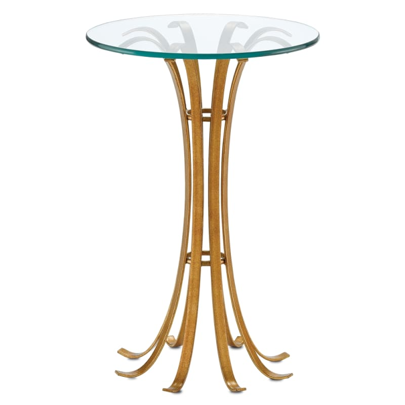 "Currey and Company 4000-0016 Val 16"" Wide Glass Top Accent Table"