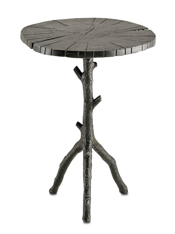"""Currey and Company 4171 Swinley 24"""" Tall Accent Table Antique Black"""