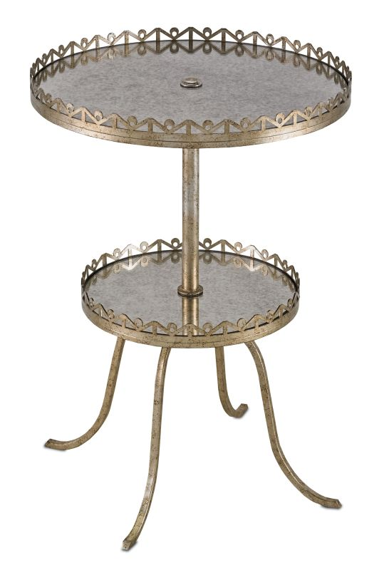 Currey and Company 4187 Bellevue 2-Tiered Accent Table with Antique