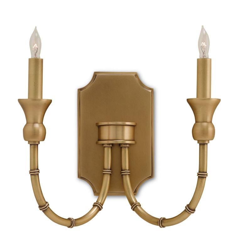 Currey and Company 5218 Imperial Bamboo 2 Light Wall Sconce Antique