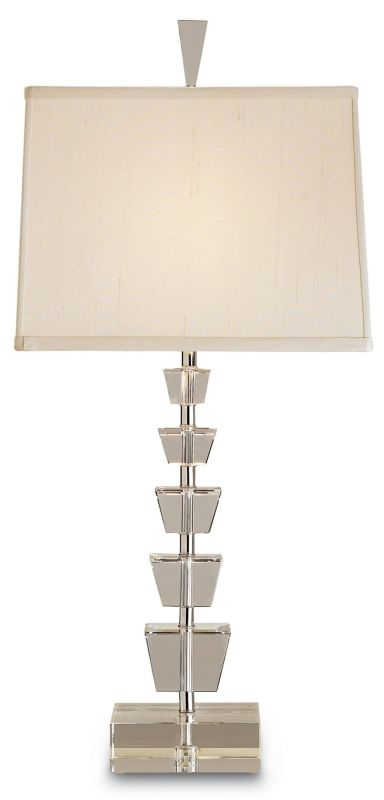 Currey and Company 6153 Moonglow Table Lamp with Beige Shantung Shades