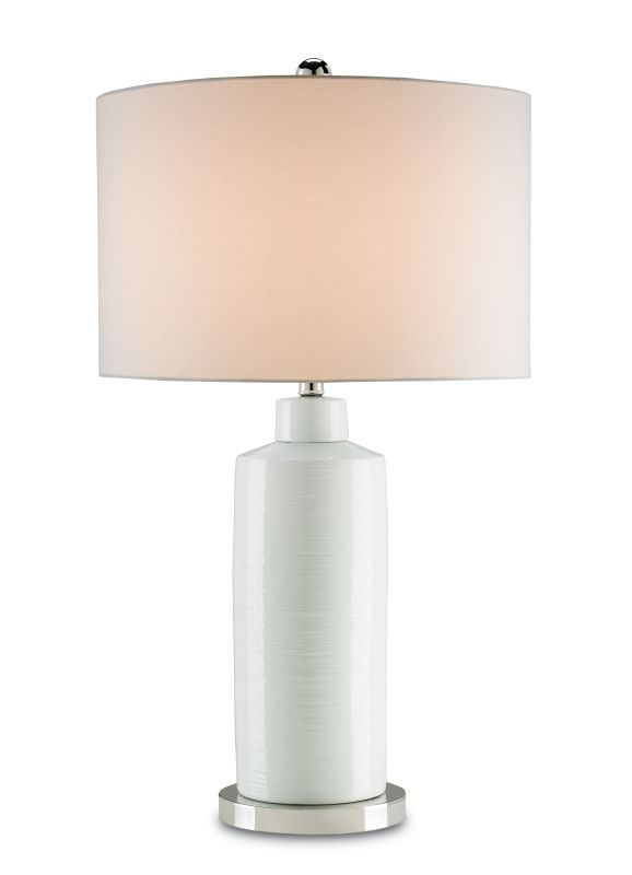 Currey and Company 6242 Elissa 1 Light Table Lamp Off White / Polished