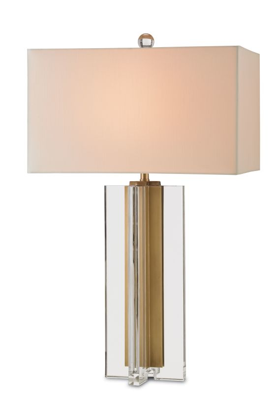 "Currey and Company 6732 Skye 1 Light 30"" High Table Lamp Clear / Brass"