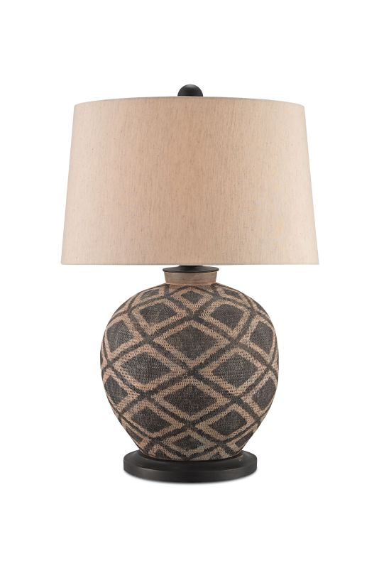 Currey and Company 6990 Afrikan 1 Light Table Lamp with Beige Poplin