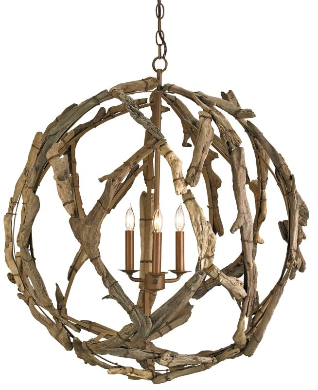 Currey and Company 9078 Driftwood 3 Light Chandelier in Natural Finish