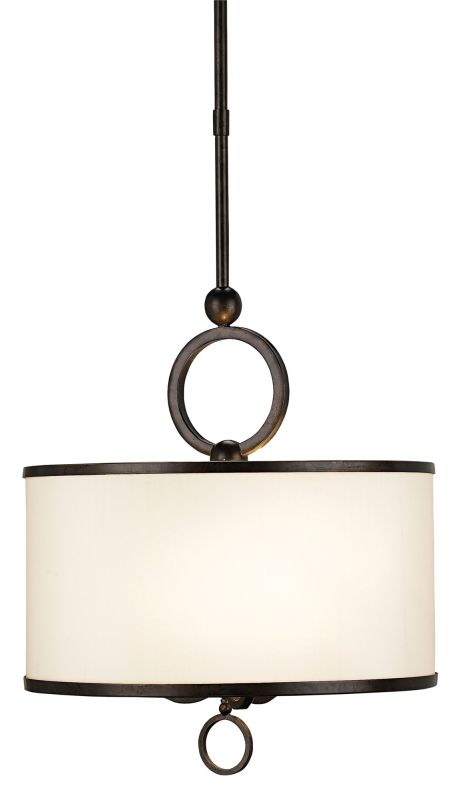 Currey and Company 9107 Brownlow 3 Light Wrought Iron Small Pendant