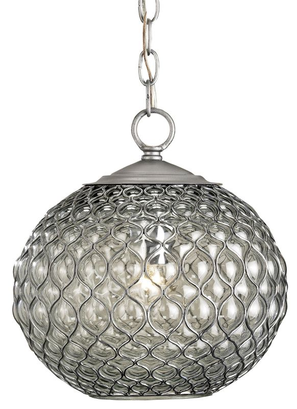 Currey and Company 9109 Pinto 1 Light Steel Wire Pendant with Beige