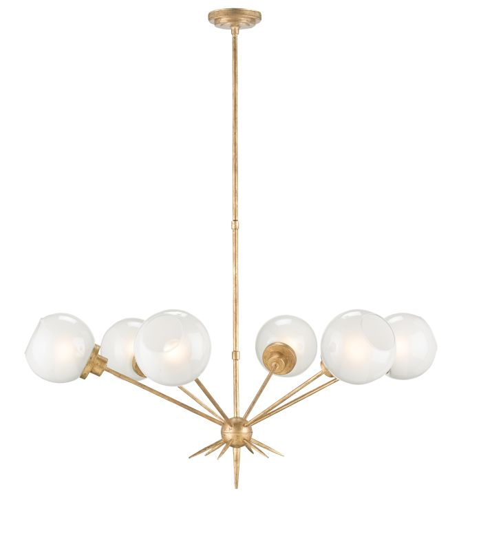 Currey and Company 9515 Shelly 6 Light Chandelier Washed Gold Leaf Sale $1350.00 ITEM#: 2493471 MODEL# :9515 :