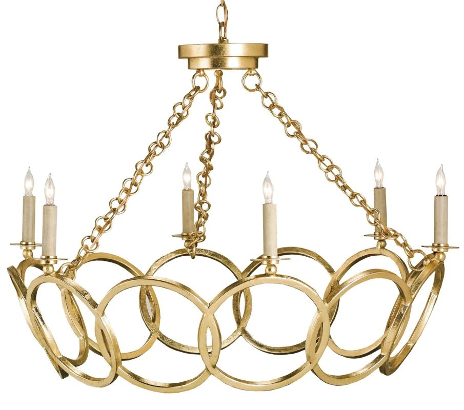 Currey and Company 9984 Orli 6 Light Chandelier Contemporary Gold Leaf