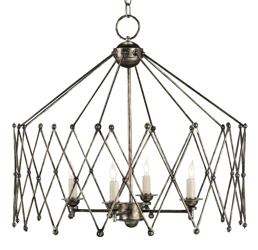 Currey and Company 9998 Accordion 4 Light Chandelier Pyrite Bronze