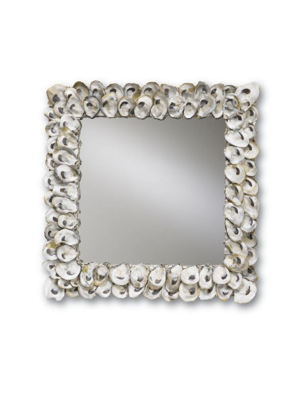 "Currey and Company 1348 Oyster Shell 20"" Square Mirror Natural Shell"
