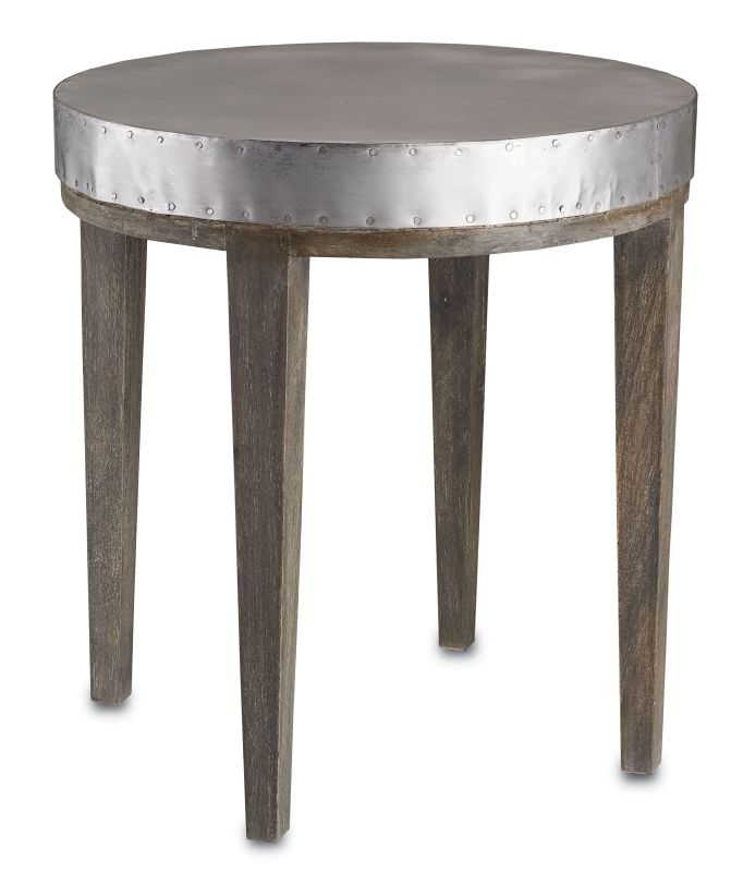 "Currey and Company 3165 26"" Wren Table Distressed Graphite Furniture"