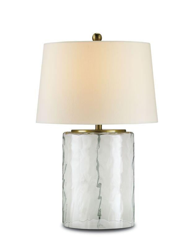 Currey and Company 6197 Oscar 1 Light Table Lamp Clear Glass / Brass