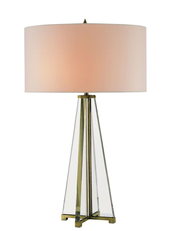 Currey and Company 6557 Lamont 2 Light Table Lamp Brass / Clear Optic