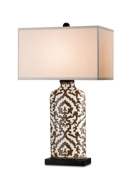 Currey and Company 6826 Perigee 1 Light Table Lamp Silver Leaf / Black
