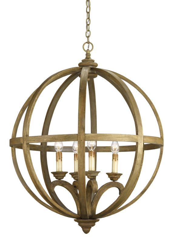 "Currey and Company 9015 Axel Orb 41""H 4 Light Chandelier with Optional"