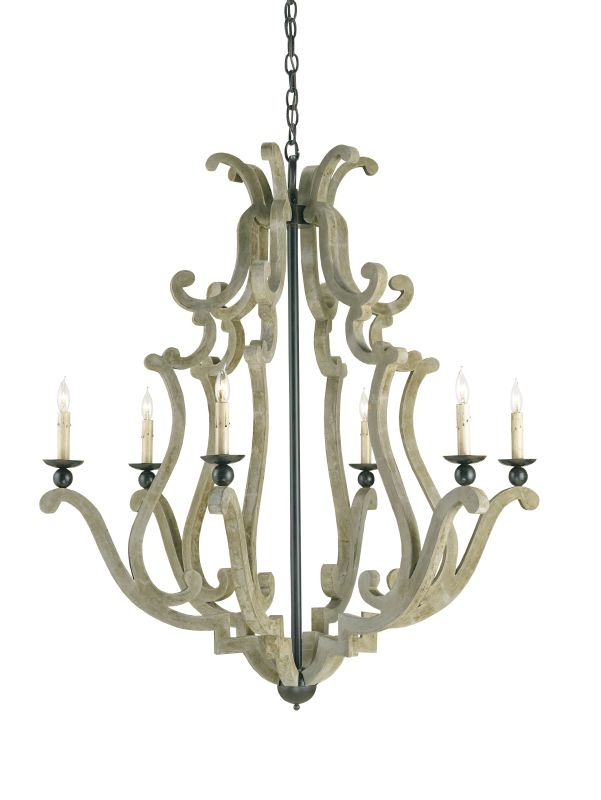 Currey and Company 9636 Durand 6 Light Chandelier Old Iron / Portland