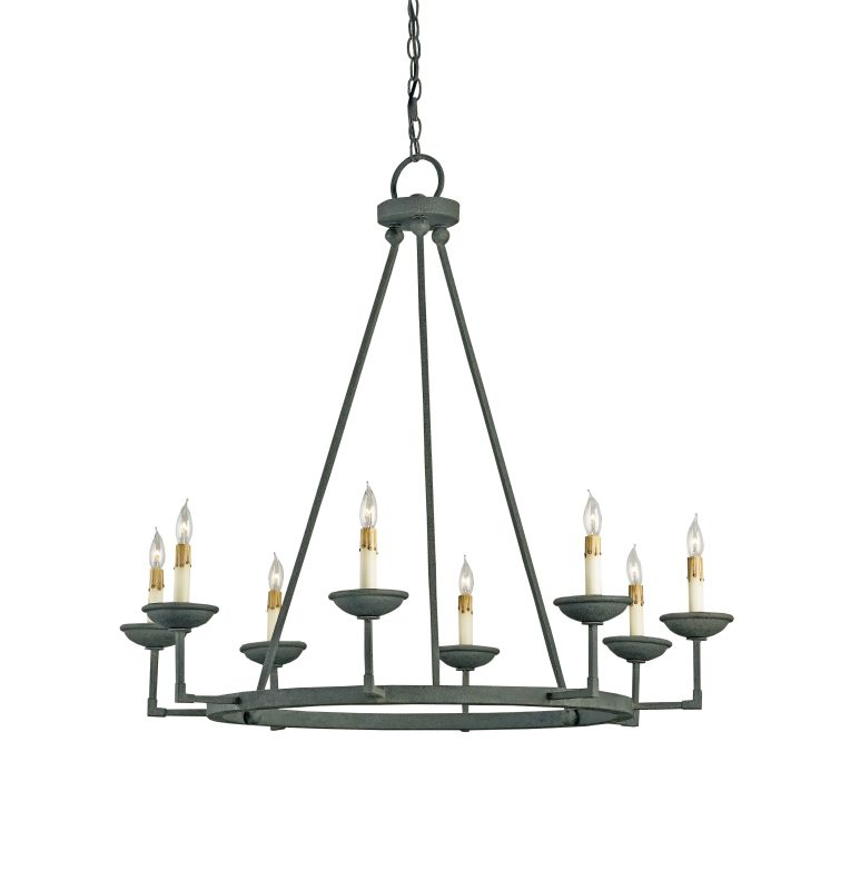Currey and Company 9670 Ormewood 8 Light Chandelier Mole Black Indoor