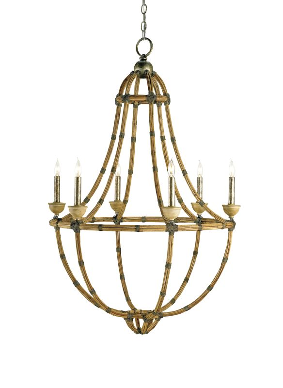 Currey and Company 9693 Palm Beach 6 Light Chandelier Pyrite Bronze /