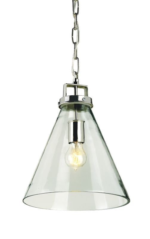 Currey and Company 9699 Vitrine 1 Light Pendant Clear Glass / Nickel