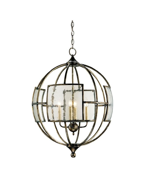 Currey and Company 9750 Broxton Orb 4 Light Chandelier Pyrite Bronze