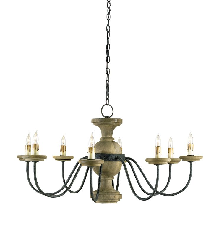 Currey and Company 9766 Treesmill 8 Light Chandelier Mole Black /