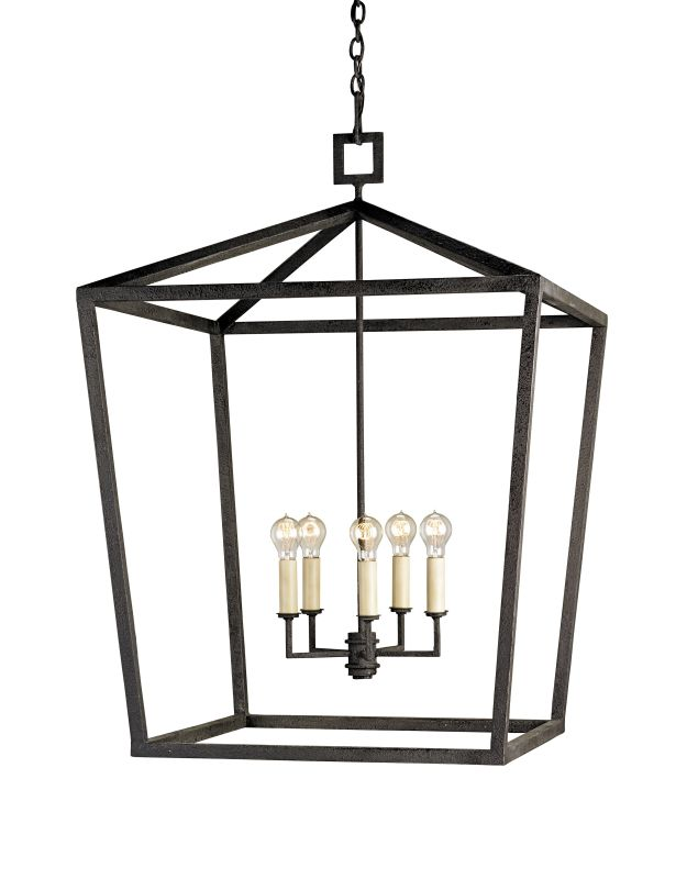 Currey and Company 9872 Denison 4 Light Chandelier In Lantern Style