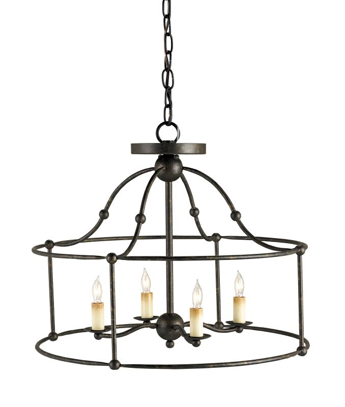 Currey and Company 9878 Fitzjames 4 Light Pendant with Wrought Iron