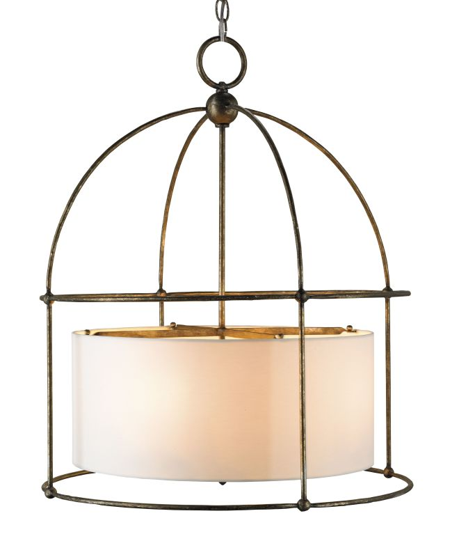 Currey and Company 9885 Benson 4 Light Pendant with Wrought Iron Frame